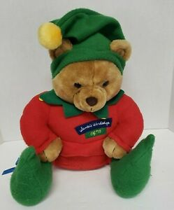 "Hallmark Teddy Bear Elf #25 plush toy Santa's Workshop Christmas 15"""