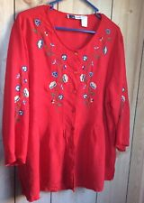 L A CERA Red Embroidered Woman Shirt Blouse Size xl Peasant