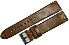 Uhrenband watch strap vintage horse leather brown Pferdeleder creme braun 24mm