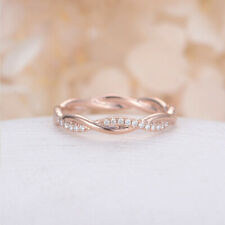 0.44 Ct Round Cut Diamond Engagement Eternity Band 14K Rose Gold Ring 6 5 7.5