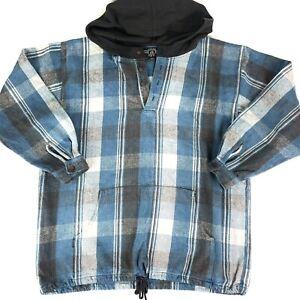 Vintage Hang Ten Mens Blue Check Cotton Hooded Jumper Size L