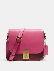 🔥Coach Hutton Saddle Bag Colorblock #609 Brass/Confetti Pink Multi