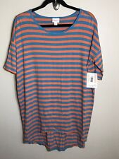 3109 NWT LuLaRoe IRMA TUNIC Shirt S SM SMALL Orange Teal Blue Striped Stretchy