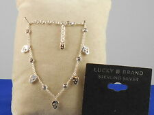 Lucky Brand Sterling Silver WEAR WITH GRACE Skull Crystal Dainty Charm Bracelet