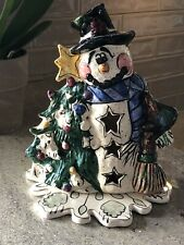 """Blue Sky Clayworks, """"Snowman"""" Holiday Candle Holder, Heather Goldminc, 9x7"""