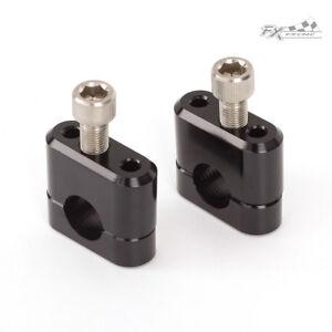 "22mm 7/8"" Motorcycle Handle Bar Fat Bars Mount Clamp Riser Kit Black Aluminum"