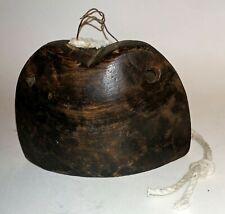 Old Vintage Antique Primitive Hand Carved Wood Cow Goat Animal Bell. Original Co