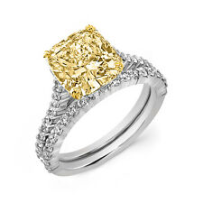 1.55 Ct Canary Cushion Cut Diamond Shared Prong Engagement Ring Set FY, VS1 GIA