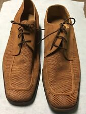 MORESCHI Size 11 Shoes Budapester Brown Suede Leather