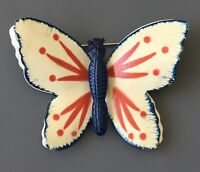 Vintage red white & blue  butterfly  Brooch in enamel on gold tone Metal
