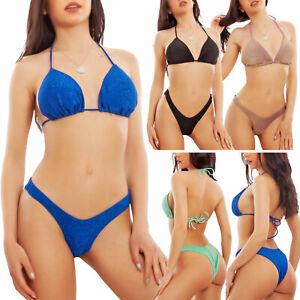 Bikini donna lurex triangolo brasiliana costume Made in Italy TOOCOOL W1095-v1