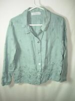 WOMENS BLUE GRAY EMBROIDERY 100% LINEN CASUAL OVER BLOUSE TOP SHIRT SIZE M 40