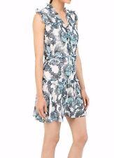 Just Cavalli Onirica Ruffled Printed Sleeveless Dress  size US 0 Euro 38 Small