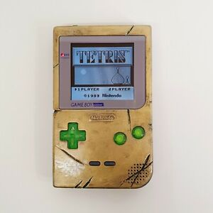 Distressed Gold Effect Zelda Design Game Boy Pocket Console -With IPS LCD Mod
