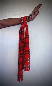Red tartan wrist scarf 70's/80's concert scarf festivals gigs rugby football