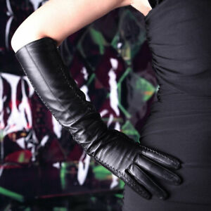 45cm Women's Ladies Real Leather Evening Party Touch Screen Opera/Long Gloves