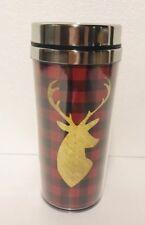 Buffalo Check Deer Travel Coffee Christmas Thermal Mug  Cup Red Black Gift