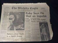 Wichita Eagle November 26, 1963 JFK Kennedy Assassin Oswald Death VTG Newspaper