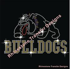 "Rhinestone Transfer ""Bulldogs"" New Hotfix , Iron On, Bling, Rhinestone Motif"