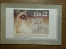 Novelty Stamp Puzzle Postcard Siamese Cat And Exotic Shorthaired Cat