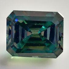Green Fancy Emerald Cut Loose Moissanite 4 Ring 3.12 Ct 9.60 x 7.90 Mm Vvs Blue