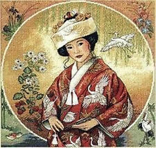 """Japanese girl""counted cross stitch kits"