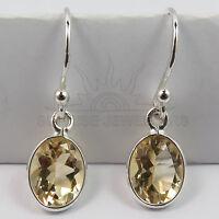 FINE EDH Genuine Fire CITRINE Gemstone Little Earrings 925 Solid Sterling Silver