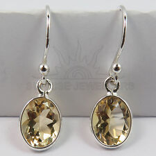FINE EDH Genuine Fire CITRINE Gemstone Little Earrings 925 Solid Sterling Silver