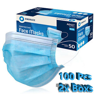 100 PCS Face Mask Mouth & Nose Protector Respirator Masks with Filter USA Seller
