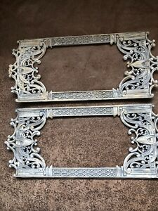 """Vintage White Washed  Metal Photo Picture Frame 4.25""""X10"""" Inside Filigree Wall"""