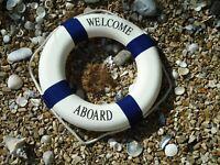 Large Ships Life Ring Welcome Aboard Lifebuoy Blue & White 510 mm Boat Belt Buoy