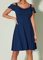 New Bravissimo 8-18 CRC RSC Cold Shoulder Navy Blue Fit Flare flippy Party Dress