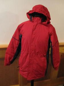 Girls Boys LL BEAN Warm Up Jacket Thinsulate Winter Ski Coat RED Parka L 14-16