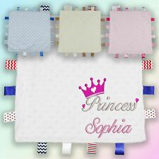 Name Princess Crown Embroidered Baby Dimple Taggy Gift Blanket Personalised Girl