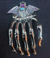 Butler and Wilson Crystal Large Skeleton Hand With Bat Shoulder Brooch New