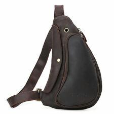 Men Real Leather Sling Bag With Haedphone Hole Shoulder Bag Chest Pack Backpack