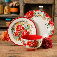 Vintage Floral 12-Piece Dinnerware Set, Dishwasher and microwave safe, Stoneware