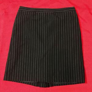 GEORGE ME - SKIRT - Black White Pin Stripe - Side Zip Back Flare - Women Size 12