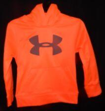 Under Armour Boys Sz 5 HD Mesh Big Logo Fleece Hoodie Jacket  Magma Orange