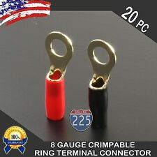 8GA Gauge Gold Ring Terminal 20 Pack Wire Crimp Cable Red Black Boots 5/16