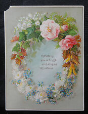 Antique Christmas & New Year Card - Flower Bouquets