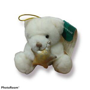 "VINTAGE Hanging Russ Berrie 6"" Tuff Teddy Bear Plush Stuffed Animal Small Mini"
