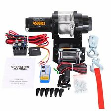 4500lbs 12V Wireless Steel Wire Cable Electric Winch w/Remote ATV 4WD + Pulley