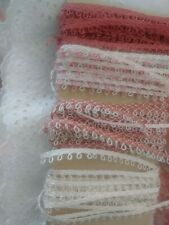 4 Tiny Antique Lace thin picoted trims 12 yards! Pink Ivory Rose