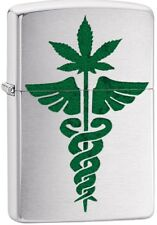 Zippo Custom Medical Marijuana Weed Leaf Green Brushed Chrome NEW