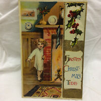 Vtg Postcard Embossed Hasten Christmas Tide Greeting 1915 Girl near Fireplace