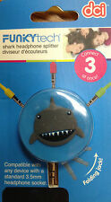 Fun Shark Decorated Earbud 3-way Line Splitter MP3 iPhone iPod Cell