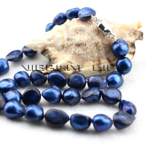 """18"""" 10-12mm Navy Baroque Freshwater Pearl Necklace UE"""