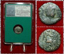 Roman Empire Coin AELIA FLACILLA Victory Writing Chi-Ro On Reverse Rare Bronze!
