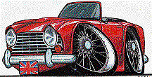 Triumph TR4 Red Cartoon car T-shirt tr4a tr250 available in sizes S-3XL